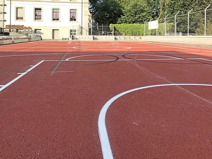 Gummibelag Sportplatz Kantonsschule am Burggraben, St. Gallen